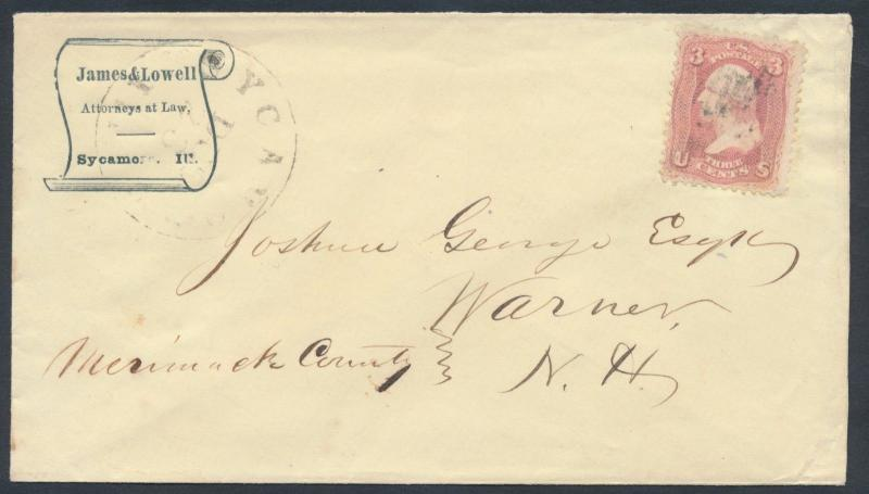 #64B ROSE PINK ON ATTYS AT LAW COVER ILLINOIS TO NEW HAMPSHIRE CV $180+ BR1398