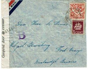 Surinam 1940 Paramaribo cancel on cover to Bonaire, local censor tape