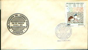 MEXICO 1259, CACHETED FDC. Inauguration zip codes (Codigo Postal). F-VF.