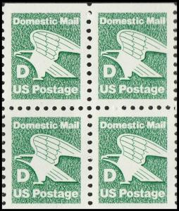 US 2113 Green Eagle D series 22c block (4 stamps) MNH 1985