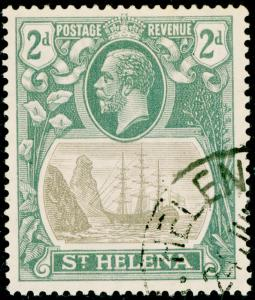 ST. HELENA SG100c, 2d grey & slate, VERY FINE USED. Cat £170. CLEFT ROCK.