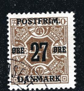 Denmark 1914 Newspaper Stamp 27 Ore Surcharge (Scott #153) F-VF USED Cat $50