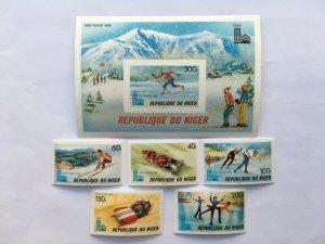 NIGER IMPERFORATED 1980 LAKE PLACID  OLYMPICS  Mi 685-89B,bl 26B  MINT