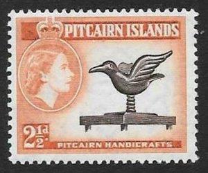PITCAIRN ISLANDS SG21 1957 2½d DEEP BROWN & RED-ORANGE  MNH