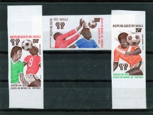Mali 1978 SG#626/628 World Cup Argentina 78 Set (3) IMPERFORATED MNH VF