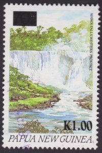 Papua New Guinea 1994 Surcharge overprint Waterfall 1k over 70t used light CD