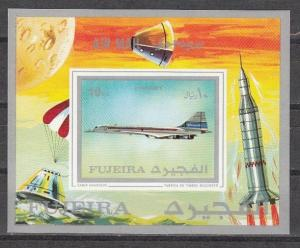 Fujeira, Mi cat. 627, BL43 B. Concorde IMPERF s/sheet. Space in Margin.