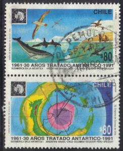 CHILE SC# 974-75  USED CONNECTED PAIR  1991 80p  ANTARTIC TREATY SEE SCAN
