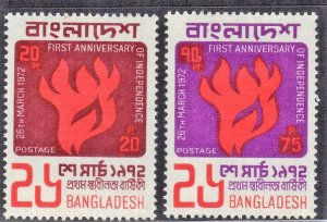 BANGLADESH  SC #33+35  MH  1972  INDEPENDENCE  SEE SCAN