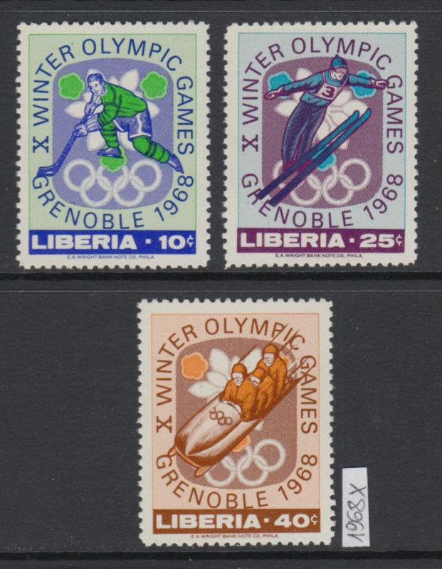 XG-W901 LIBERIA - Olympic Games, 1968 Winter, Grenoble '68, 3 Values MNH Set