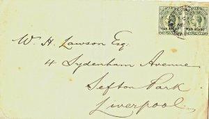 Falkland Islands KGV ½d War Stamp Pair on Laswon Cover
