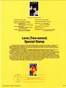 US SP832 Love Roses 2379 Souvenir Page FDC