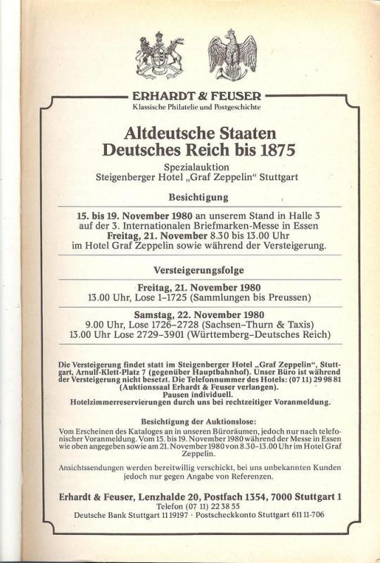Erhardt & Feuser: Sale # 4  -  Altdeutsche Staaten Deutsc...