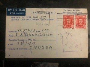 1944 Coburg Australia To Keinjo Camp Chosen Korea POW Prisoner Postcard Cover