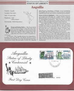 Statue of Liberty Anguilla #657-658. 1986  FDC with write up.