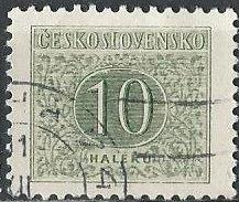 Czechoslovakia J83 (used) 10h numeral, gray green (1955)