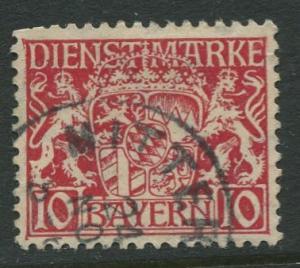 Bavaria -Scott O10- Coat of Arms -1916-17 - Used - 10pf Stamp