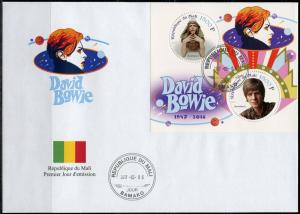 MALI 2017  DAVID BOWIE SHEET OF TWO  FIRST DAY COVER