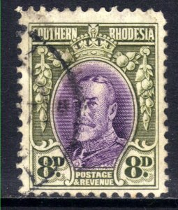 Southern Rhodesia 1931 - 37  KGV 8d violet & Green used SG 21 Perfs 12 ( D100 )