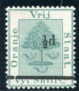 Orange Free State 1882 QV ½d on 5s green MLH. SG 36.