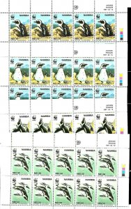 #8341 NAMIBIA 1997 FAUNA WWF,BIRDS PENGUINS YV 790-3 FULL SHEET MNH