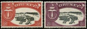BRUNEI Sc#95-96 SG#112-113 1952 Sultan Omar $2 & $5 Top Values Mint LH