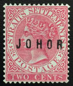 Malaya 1884 Johor opt Straits Settlements QV 2c MNG SG #9  M1662
