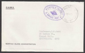 NORFOLK IS 1975 Official cover to Queensland................................M641