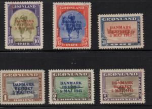 Greenland 1945 DANMARK BEFRIET long stamp set mint