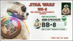 21-102, 2021,Star Wars Droids, BB-8, First Day Cover, Digital Color Postmark,