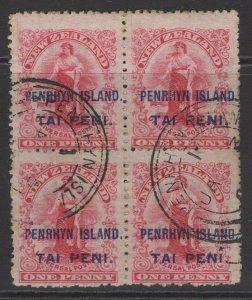 PENRHYN ISLAND SG5 1902 1d CARMINE p14 USED BLOCK OF 4