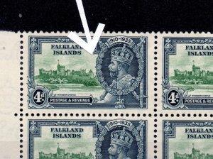 FALKLAND ISLANDS SG141d 1935 SILVER JUBILEE 6d GREEN & INDIGO FLAGSTAFF VAR MNH