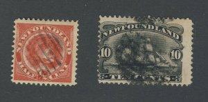 2x Newfoundland Used Stamps; #56-1/2c U F/VF & #59-10c U F Guide Value = $53.00