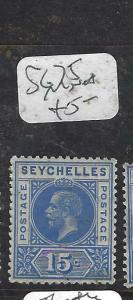 SEYCHELLES  (PP2905B)  KGV  15C     SG  75   MNH