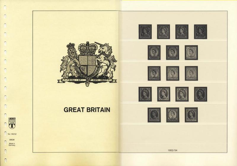 Great Britain 1952-69 Lindner Hingeless Stamp Album Pages