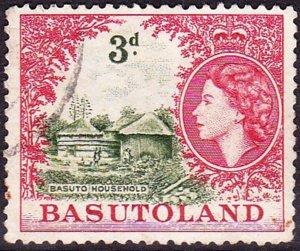 BASUTOLAND 1954 QEII 3d Yellow-Green & Deep Rose-Red SG46 FU