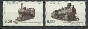 Croatia 2016 Trains Locomotives / Railroads 2 MNH stamps