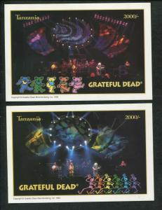 1995 Tanzania Commemorative Souvenir Stamp Sheet - Grateful Dead Set