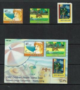 New Zealand: 1997  Health, Children's Paintings, MNH set + miniature sheet.