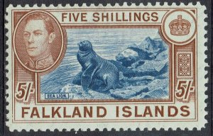 FALKLAND ISLANDS 1938 KGVI SEAL 5/- MNH **
