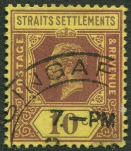 STRAITS SETTLEMENTS-1923 10c Purple/Pale Yellow Die I Sg 231 FINE USED V50210