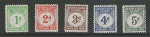 Gilbert & Ellice Islands 1940 Sc J1-5 MLH