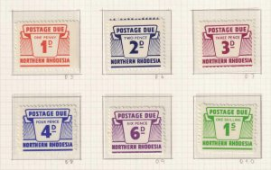 NORTHERN RHODESIA J5 - J10 DUES  MINT LIGHTLY HINGED OG * EXTRA FINE ! - W328