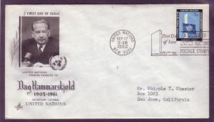 United Nations FDC Sc. #  108 Dag Hammarskjold     L1