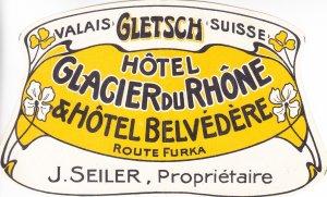Swiss Hotel Label, 1930's, Light Fold (S18182)