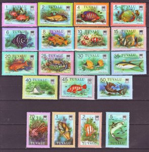 J22205 Jlstamps 1979 tuvalu set mnh, #96-113 colorful fish