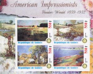 Art by Impressionist Theodore Wendel  - 4 Stamp  Sheet - M0519