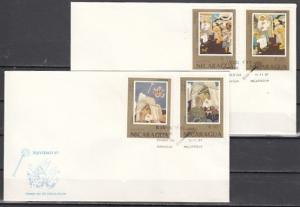Nicaragua, Scott cat. 1671-1674. Christmas Paintings. 2 First day covers. ^