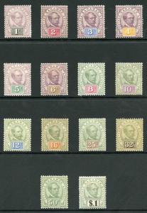 Sarawak SG8/21 1888 Set of 14 M/Mint (hinge remainder)