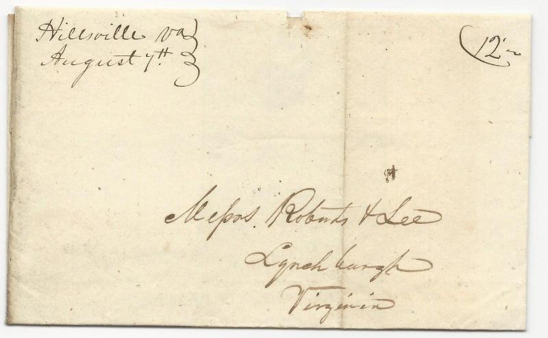 VA US STAMPLESS COVER Hillsvilee August 7, 1844